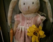Primitive Rabbit Easter bunny Girl rabbit Cloth doll  hafair Faap Cottage chic