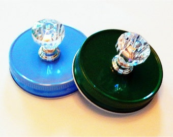 Mason Jar Lid with Acrylic Knob in Regular Mouth Size/Colorful Mason Jar Lids /Home Decor Gifts