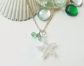 Star Fish Necklace Glass Starfish Beach Necklace Beach Jewelry Starfish Necklace Green Sea Glass Beads Starfish Pendant Starfish Charm