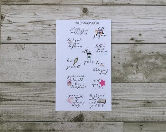 Cute Calligraphy Quote Stickers