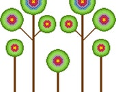 Retro inspired trees in bloom. Modern cross stitch. Contemporary cross stitch pattern.