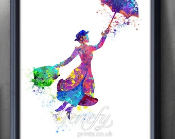 Disney Mary Poppins Watercolor Poster Print - Wall Decor - Artwork- Painting - Illustration - Home Decor - Kids Decor - Nursery Decor
