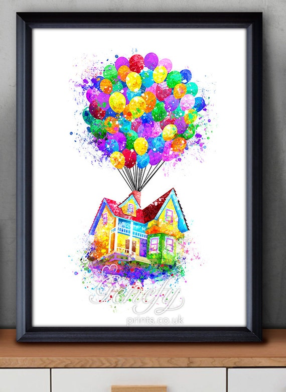 Disney Pixar oben Ballon-Haus fliegende Haus Aquarell Poster Up House Pixar Drawing
