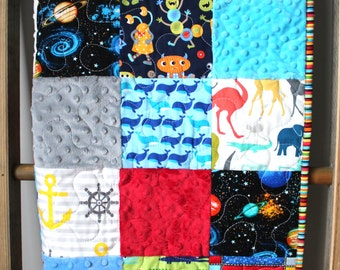 Modern Baby Quilt-Baby Boy Quilt-Quilted Play Mat-I Spy Quilt-Minky Quilt-Patchwork Play Mat- Patchwork Blanket- Tactile Baby Blanket- gift