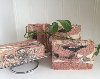 WILD ROSE SALT Bar Soap/ Spa Bar.....Himalayan Salt Bar With Buttermilk, Kaolin Clay, Activated Charcoal