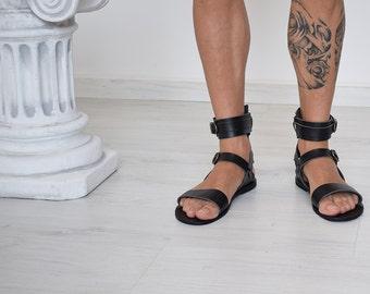 Gift For Men, Gladiator Men Sandals, Men, Black sandals, leather sandals, Handmade Sparta Sandals, Men Gift, High Quality, Genuine Leather