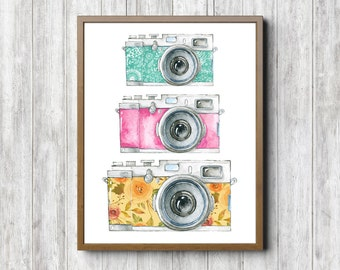 Instant Download - Photographer Gift - Watercolor Camera Wall Art - Photography Studio Art Poster - Wall Decor - Colorful Art Print