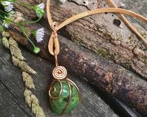 Jade Necklace, Self reliance, healing crystal, Jade pendant, witchy jewelry, healing jewelry, empath jewelry, Jade adornment, heart chakra