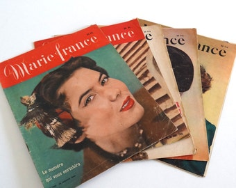 """5 French Vintage Magazines """"Marie France"""" 1950 (no 268, 270-273)"""