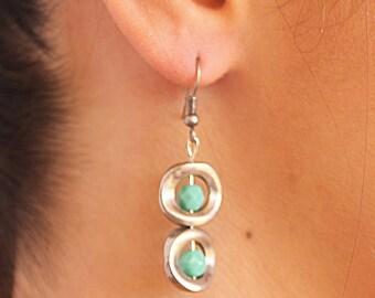 Fashion Drop Earrings,Dangle Earrings,Silver plated casting Earrings,Turquoise Earrings,Glass beads Earrings,casting beads Earrings