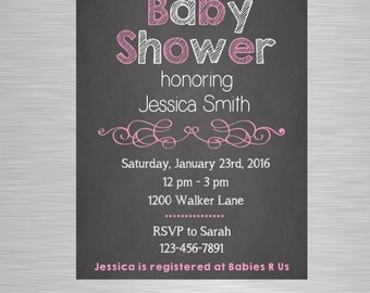 Printable Baby Shower Invitation - Chalkboard Baby Shower Invite - Digital Print - Pink, blue or yellow - 5x7