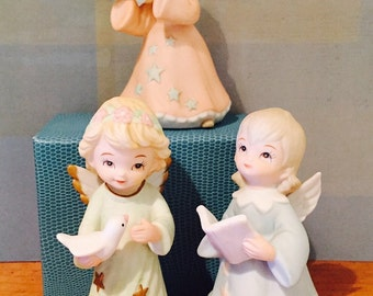 3 Vintage Lefton China Angel Figurines