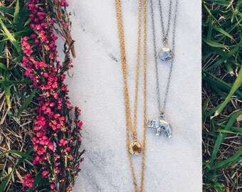 Layered Elephant Pendent Necklace