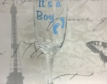 It Is A Boy - Tiny Footprints - Wine Glass, Champagne Glass, Hi-Ball Glass - Gift Boxed, New Baby, Baby Boy, Baby Shower, Tiny Toes, Gift