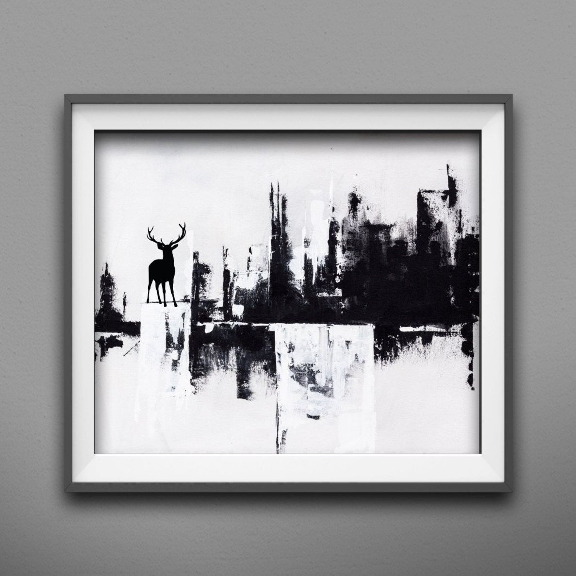 Modern wall art painting black and white modern abstract for Modern black and white wall art