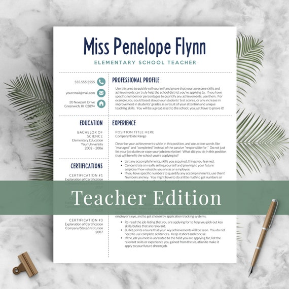 Elementary Teacher Resume Template For Word U0026 Pages, 1   3 Pages, Meet The  Teacher Letter | Instant Download Teaching Resume, CV Teacher  Teacher Resume Templates