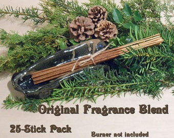 Long Burning Forest Incense Sticks, Winter Woods Original Fragrance; Pine, Cedar, Sandalwood, Peppermint; Fresh Winter Woody Scent Bundles