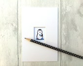 Penguin picture, cup of tea and slippers, miniature penguin print