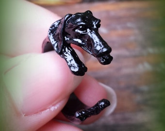 Black Dachshund Ring - Adjustable Puppy Ring - Animal Ring