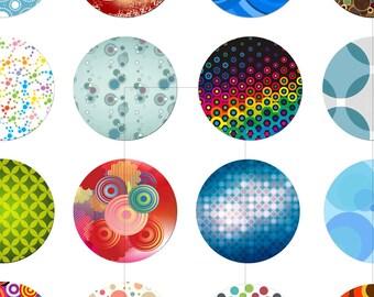 "Retro Circles, Digital Collage Sheet, Digital Images, 1.5"", 1.25"", 1 inch, 30mm, 25mm circles, Magnets, Cabochon, dcc113"