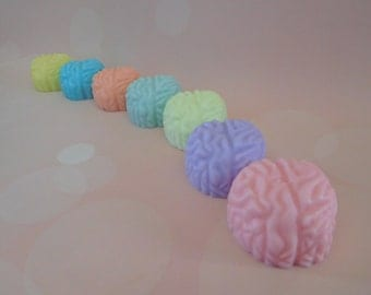 Brain Soaps - Zombie Soap - Brain Soap Favor - Halloween Favors - Gag Soap -  Med School Grad Gift - Anatomy Soap - Science Favors - 5 pk