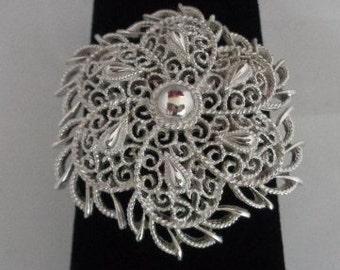 """Use Coupon 10OFF Vintage TRIFARI 2"""" Silvertone Filigree Lightweight Pin that was purchased as Estate Jewelry"""