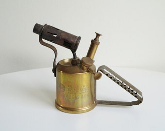 Brass Blow Torch Optimus 406 Made in Sweden in the 1960-s Great Vintage Condition Blow Lamp Made in Sweden