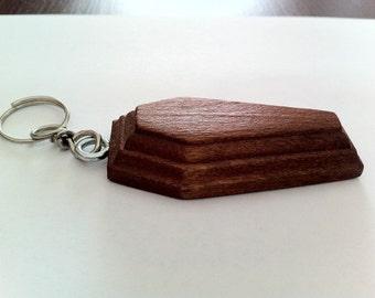 Light Walnut wooden coffin shaped Keyring