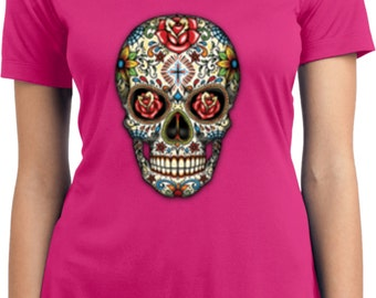 Ladies Skull Shirt Sugar Skull with Roses Moisture Wicking V-neck Tee T-Shirt WS-16553-LST353