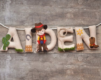 Felt name banner, cowboy nursery decor, personalized gift, baby felt letters, child room baby name garland, custom felt name, MADE TO ORDER