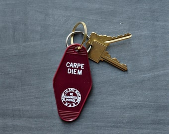 Carpe Diem Key Tag_key ring/seize the day/funny quotes/keychain/inspirational/party/party favors/gift/motel key tags/graduation/birthday