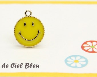 Smiley Charm, Gold Smiley Face Charm, Gold Smiley Face Pendant, Yellow Enamel Smiley Face Charm, Japanese Charm, Gold Smile Face Charm