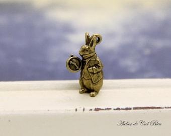 Anniversary Sale - White Rabbit Charm - Alice in Wonderland Rabbit Charm - Antique Bronze Rabbit Charm - Bunny Charm - Alice Charm