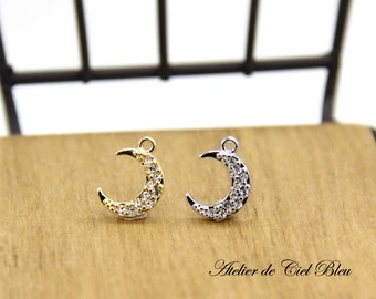 Moon Charm, Crescent Moon Charm, Gold / Silver Moon Charm, Pave Moon Charm, Rhinestone Moon Charm, Moon Jewelry, Pave Moon Pendant