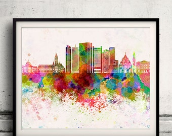 Boston skyline in watercolor background - Poster Digital Wall art Illustration Print Art Decorative - SKU 2162