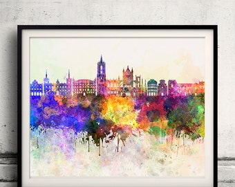 Leon skyline in watercolor background - Poster Digital Wall art Illustration Print Art Decorative - SKU 1332