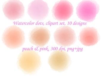 Watercolor circles, peach pink watercolor clipart, peach clipart, pink watercolor splashes, design elements, watercolor overlays