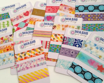 Washi tape sample cards - 3 random patterns of 24 inch washi tape - choose by season, color, theme or random