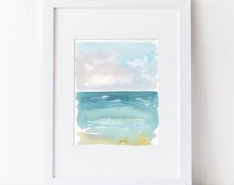 Beach Art - Nautical Watercolor Painting - Art Print - Modern Watercolor - Simple Watercolor Art