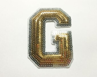 Gold Alphabet Letter G Iron on Patch - Gold Sequin G, Glitter Applique Embroidered Iron on Patch - Size 5.3x7.5 cm#T2