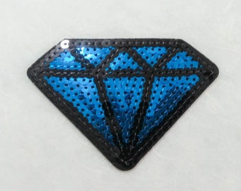 Blue Diamond Sequin Iron on Patch (L) - Sequin Diamond,Glitter Applique Iron on Patch - Size 9.3x6.5 cm
