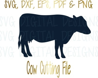 Cow Svg Cut File SVG Digital Design Cutting file for Silhouette & Cricut - Svg Dxf Eps Instant Download Milk Cow Vector - Dairy Cow Clipart