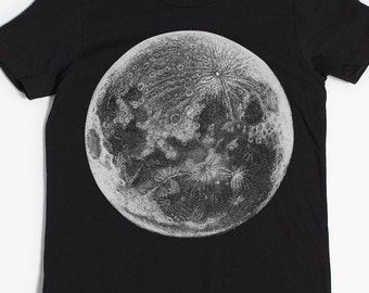 Children's Moon T-shirt - Kid's Shirt - Astronomy Gift - Full Moon - Screen Printed Tshirt