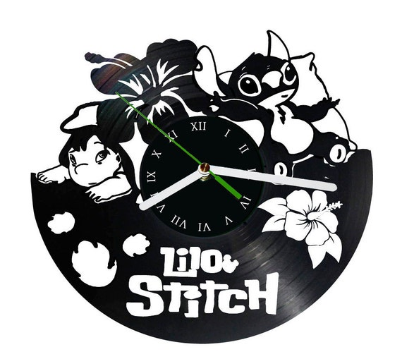 Lilo And Stitch Vinyl Clock Disney Clock By Puffpuffdesign