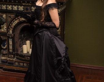Black Victorian Bustle Dress, 1880s Ball Outfit, Black Steampunk Wedding Costume, Vampire Gothic Dress