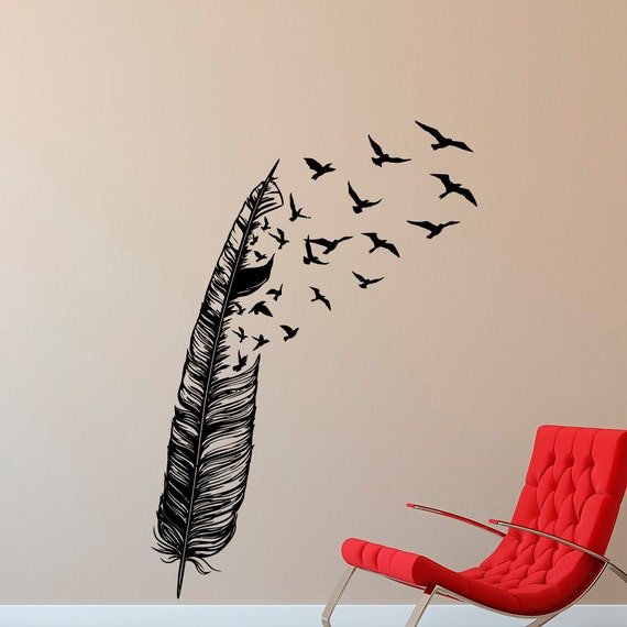 feather flying bird wall decal vinyl stickers abstract wall flying birds wall sticker i v amp c designs ltd