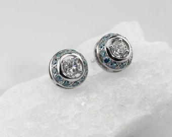 Diamond jackets, blue diamond jackets, diamond earring jackets, 14K white gold jackets, earring jackets for diamond studs, diamond jackets