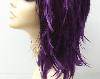 12 inch Purple Shag Style Wig. Straight and Layered w/ Bangs. Anime Cosplay Wig. [12-80-Cosmic-Purple]