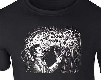 Nikola Tesla Adult Tee, Tshirt, Engineer, Science, Physics, Lightning, Inventor, Tesla Coil, Quote, Nerd, Geek, Electricity, Current, STEM