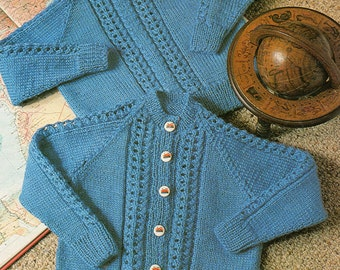 Child Toddler Knitting Pattern - Sweater and Cardigan 20 to 22 inches crew neck